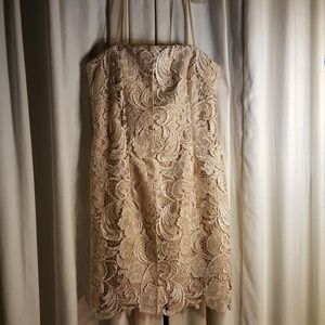 Adriana Papell champagne straps dress